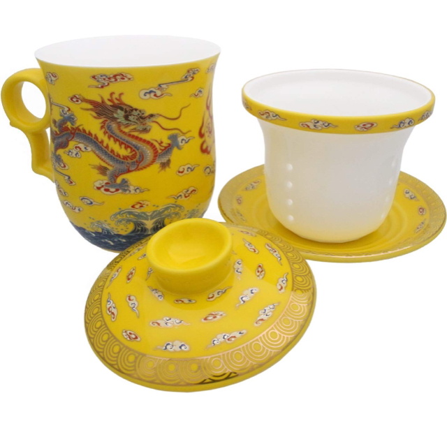 Chinese Porcelain Tea Cup with Lid and Saucer Infuser Set