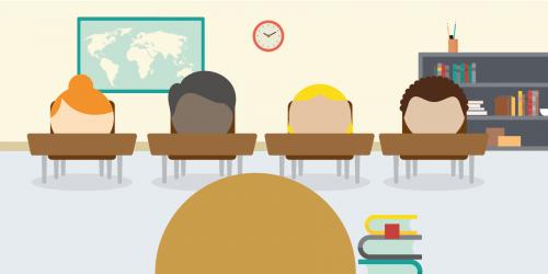 Supply teacher in classroom