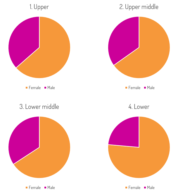 Pie charts depicting percentage of male and female employees in each pay quartile